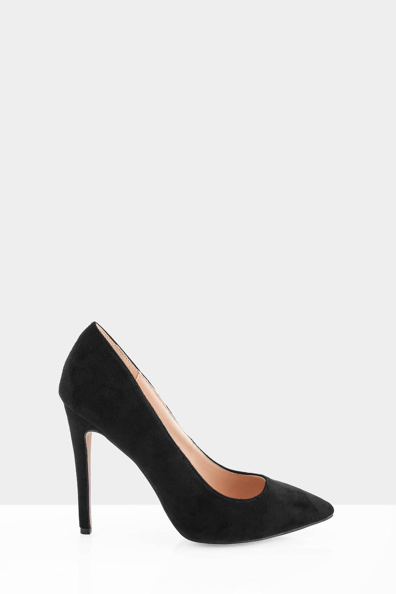 Ediva Black  Suede Heels