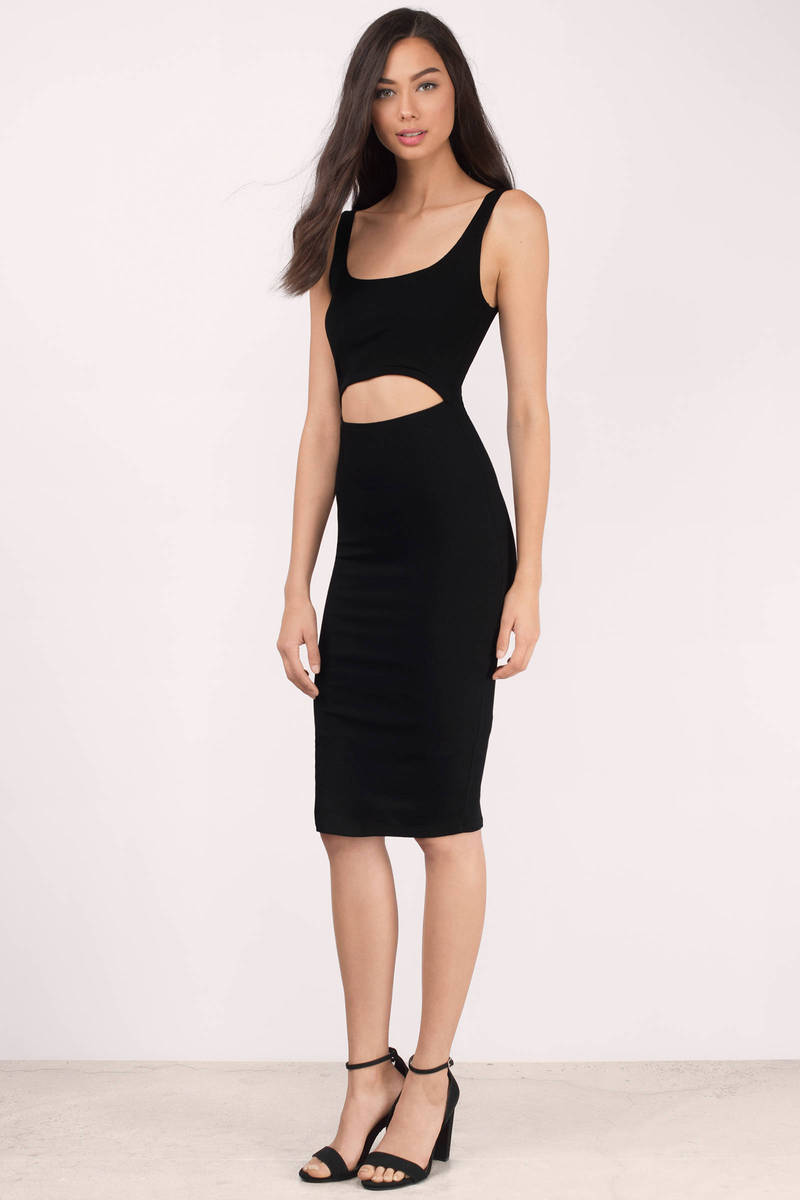 Edson Black Ribbed Bodycon Dress