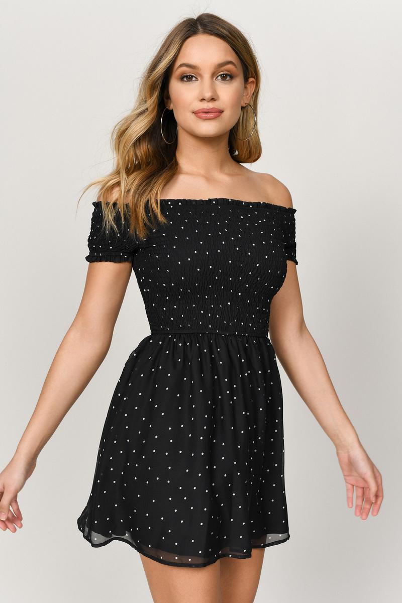 Black Skater Dress - Strapless Polka Dot Dress - Bardot Skater Dress ...
