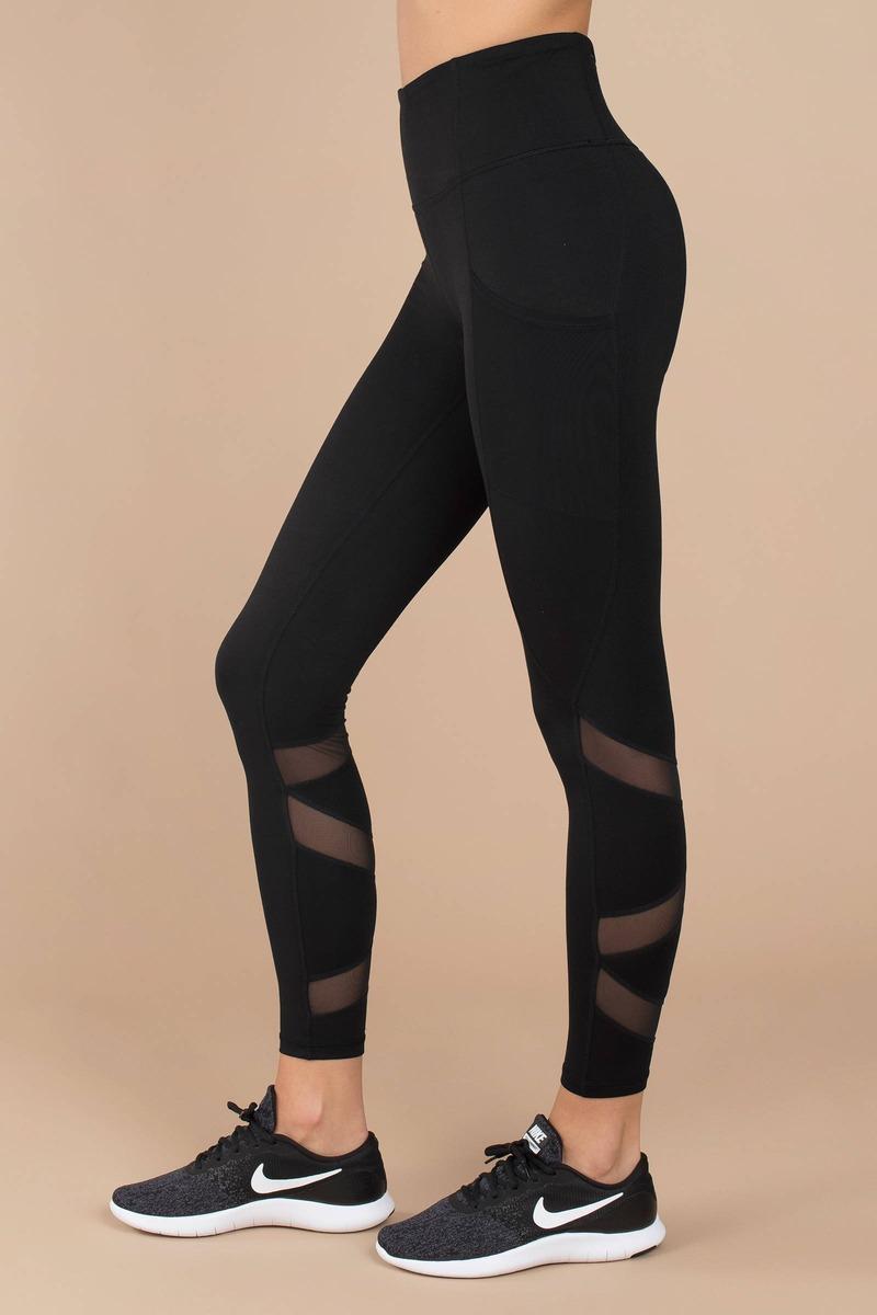 4fd7c18bb33df2 Black Leggings - Mesh Paneled Leggings - Black Criss Cross Leggings ...