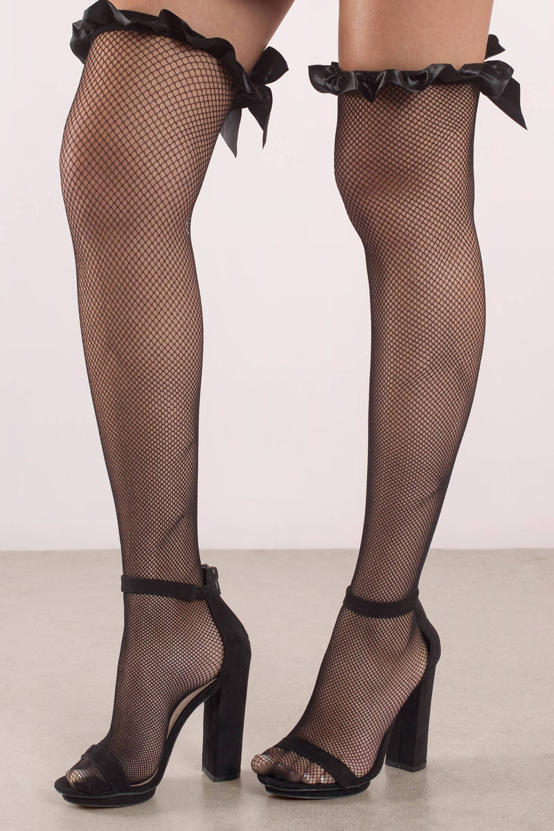 c88d76255df74b Elise Black Bow Tie Knee High Fishnet Stockings - € 18 | Tobi IE