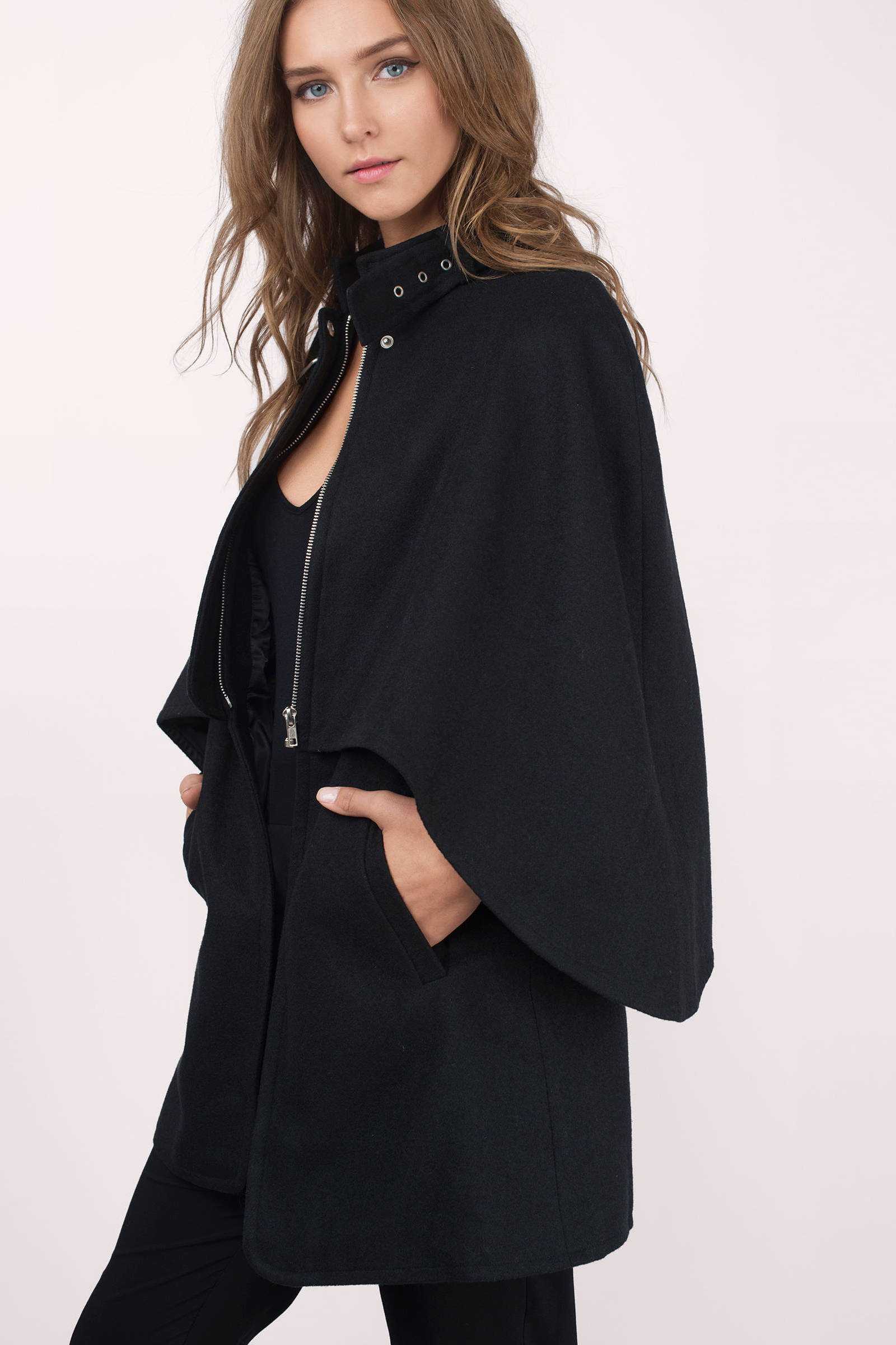 Cheap Black Coat - Black Coat - Cape Coat - $51.00