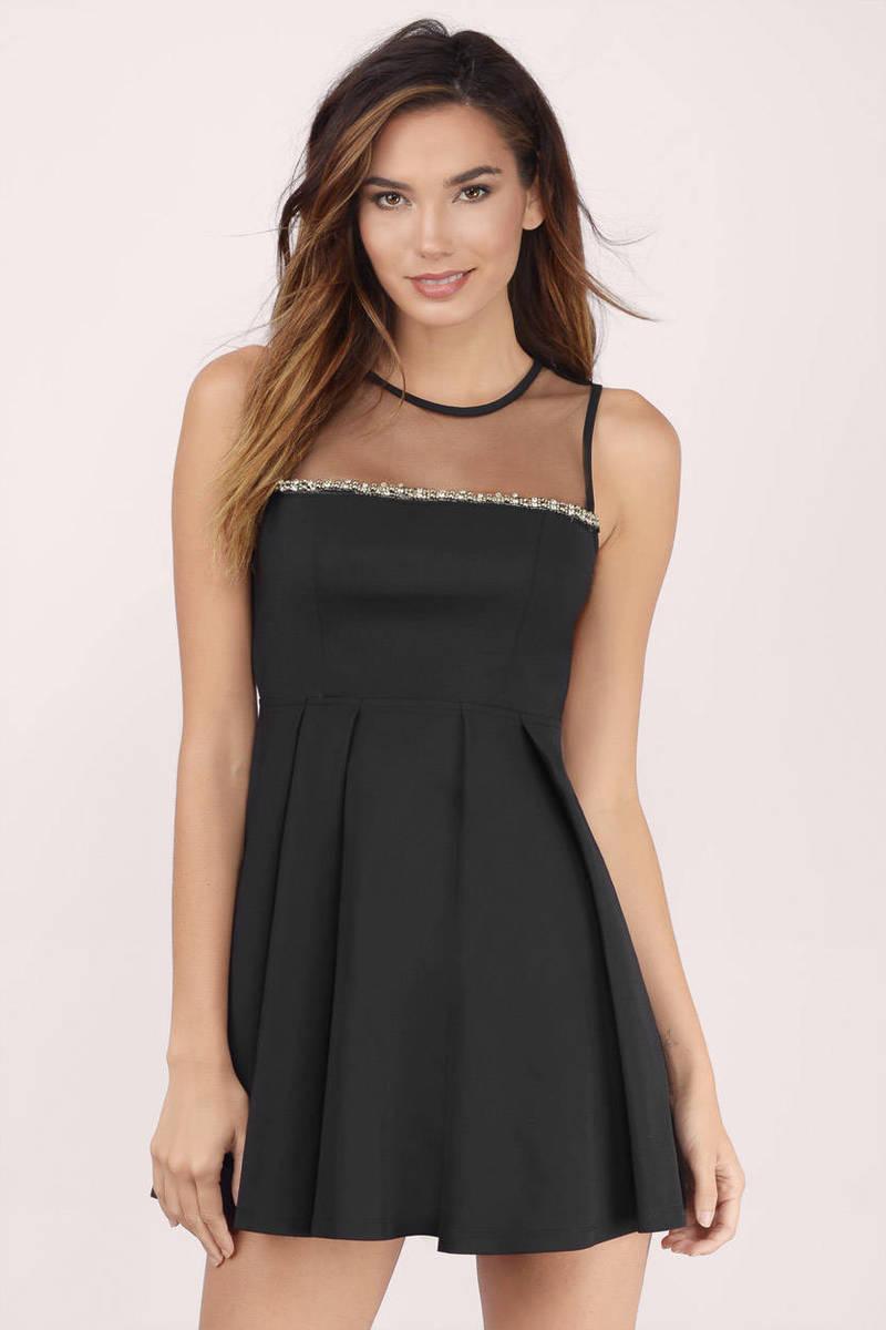 Embellished Black Skater Dress