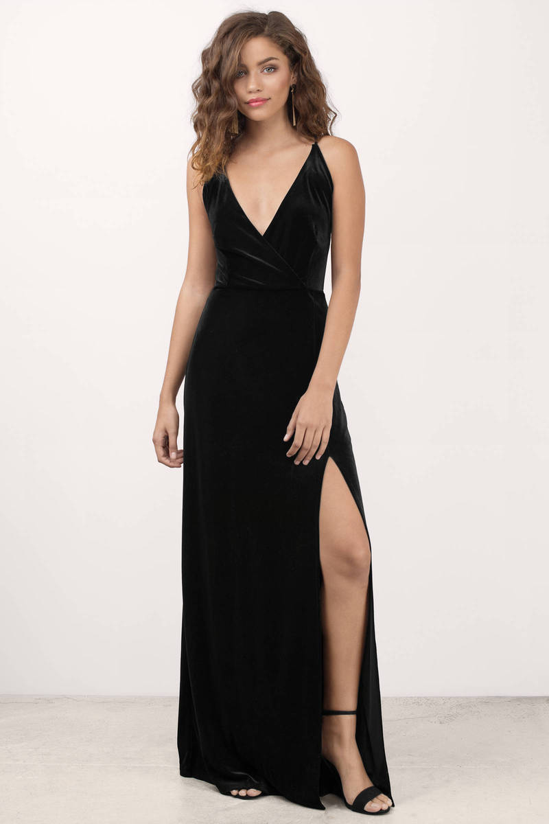 1d5b580ebe7 Black Maxi Dress - High Slit Dress - Black Velvet Dress -  31