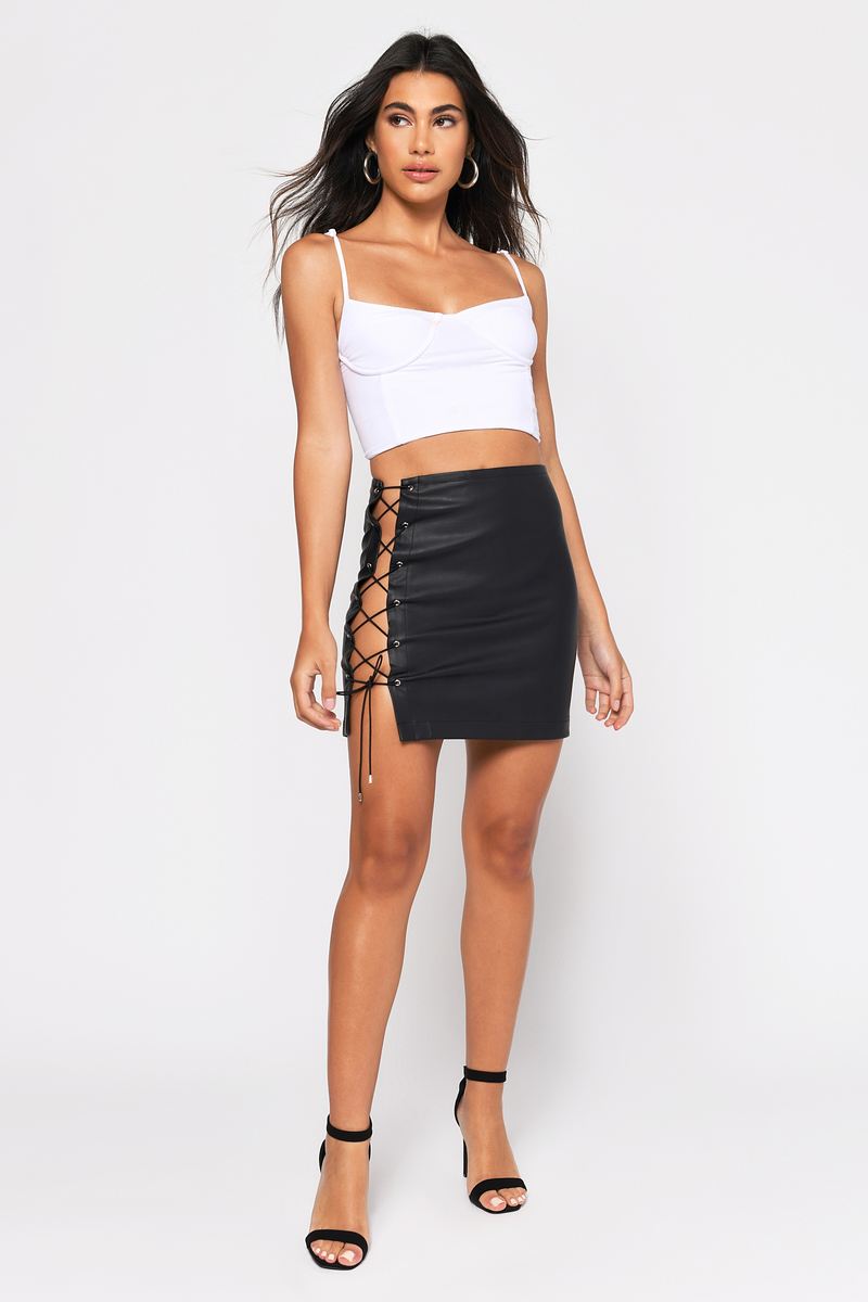 ae97468ae9a Black Skirt - Lace Up Skirt - Black Faux Leather Mini Skirt - $58 ...