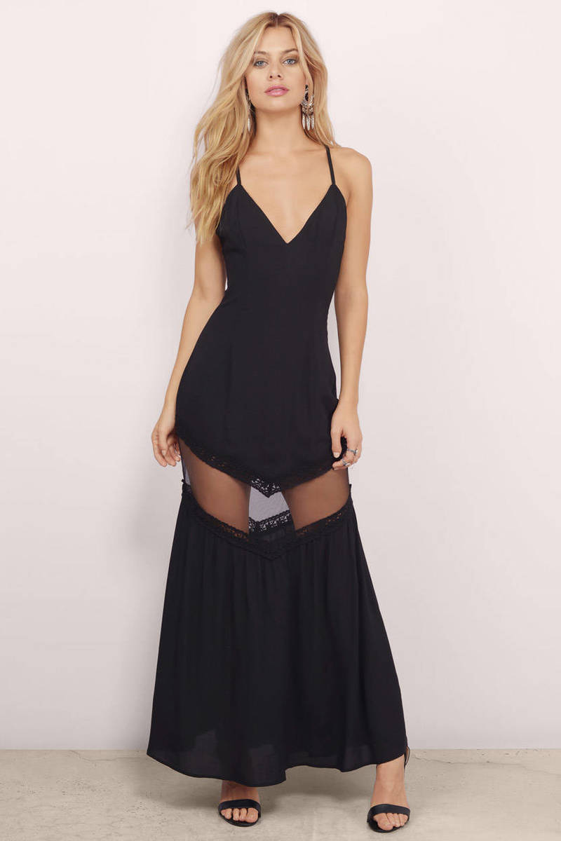 Everlong Black Sheer Maxi Dress