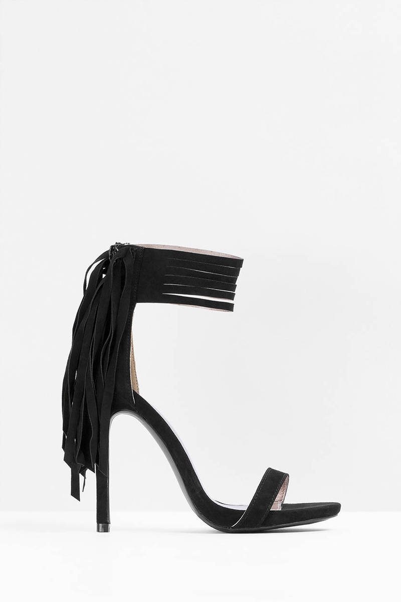 Everly Fringe Ankle Strap Heels