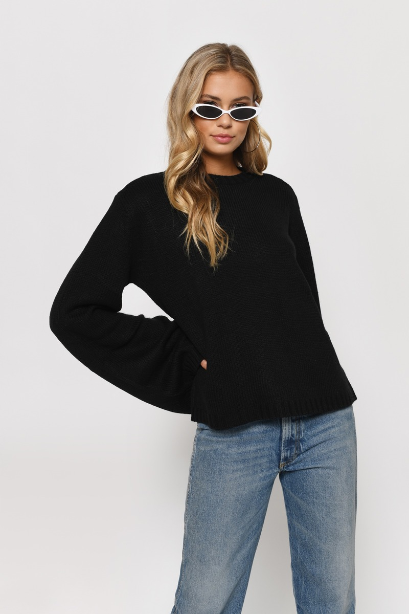 Faded Love Toast Flared Sleeve Sweater