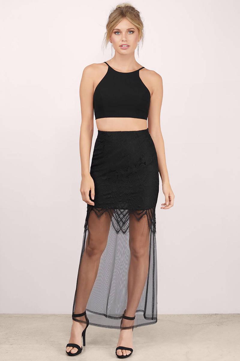 Fantasy Black Lace Sheer Maxi Skirt