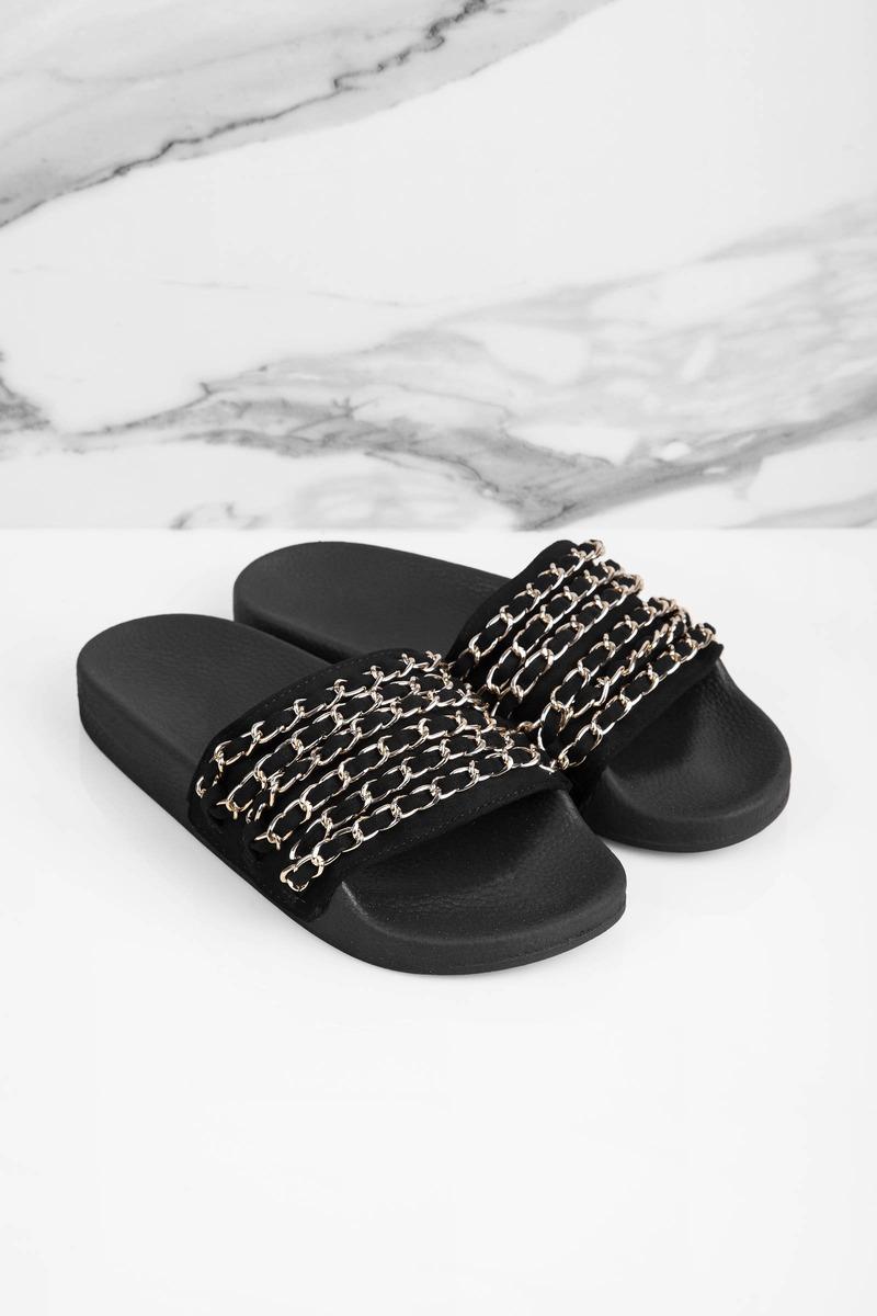 Farah Black Chain Slides