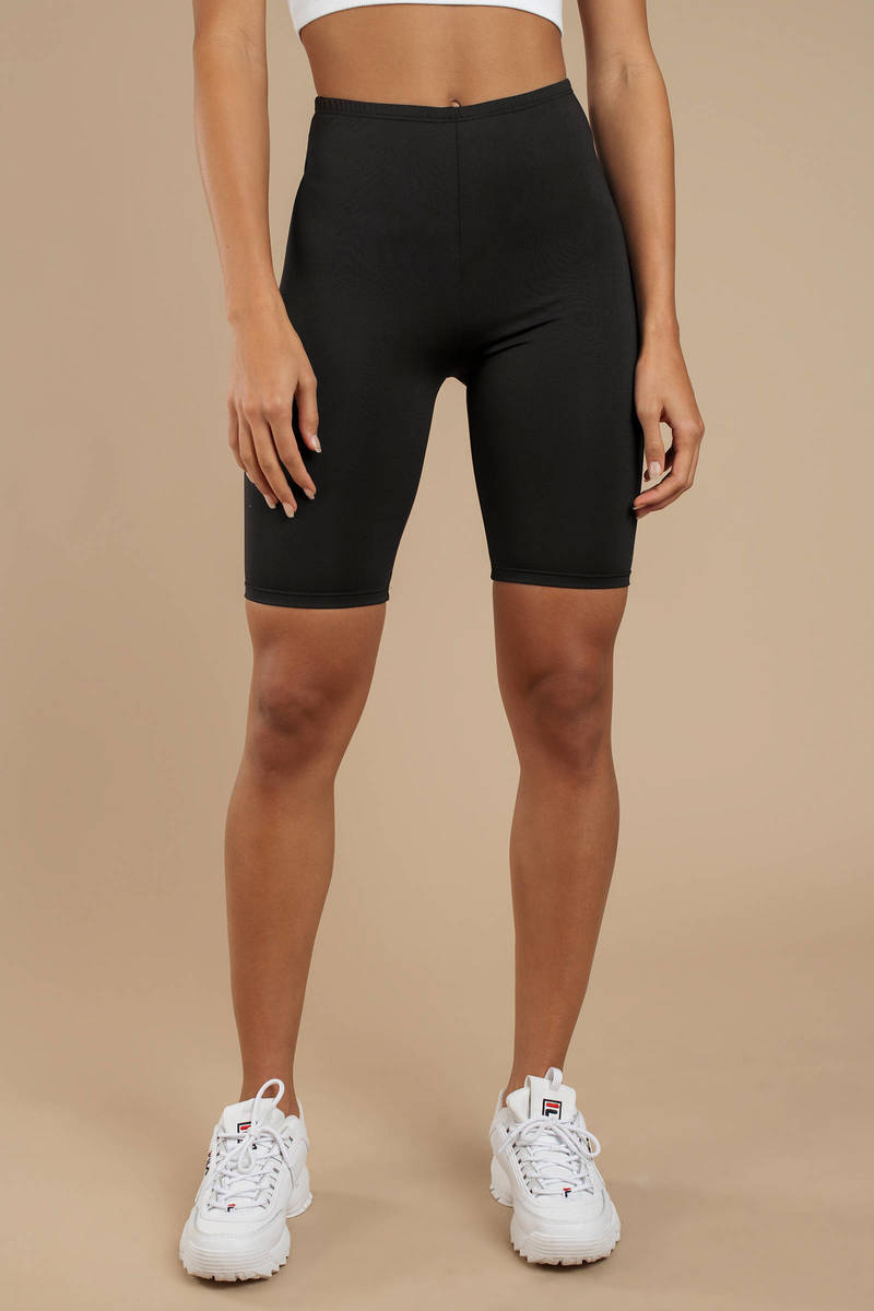 tight black high waisted shorts
