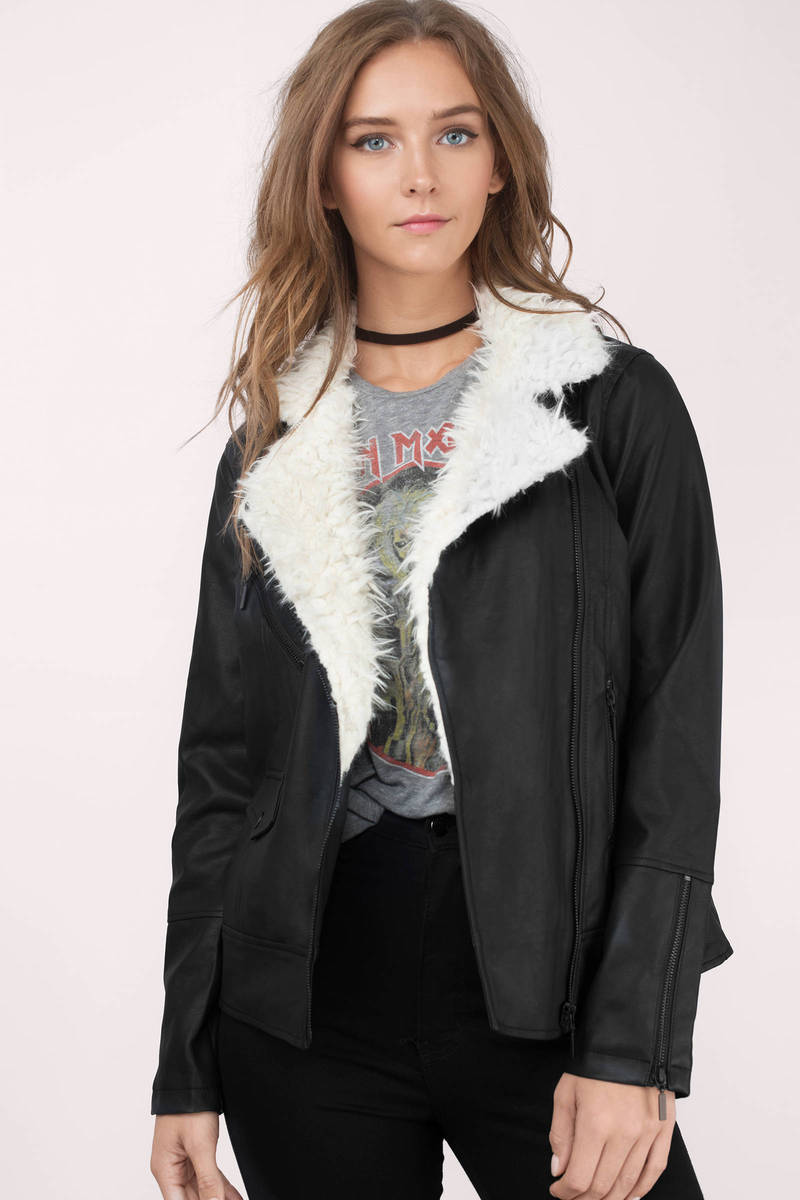 Faye Black Faux Fur Moto Jacket