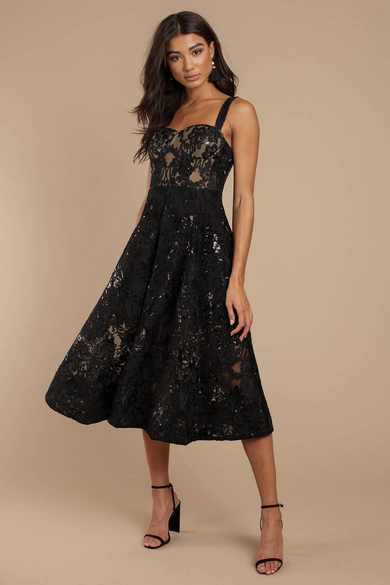76eebbc9493 Black Midi Dress - Sequin Lace Dress - Black Sequin Sheath Dress ...