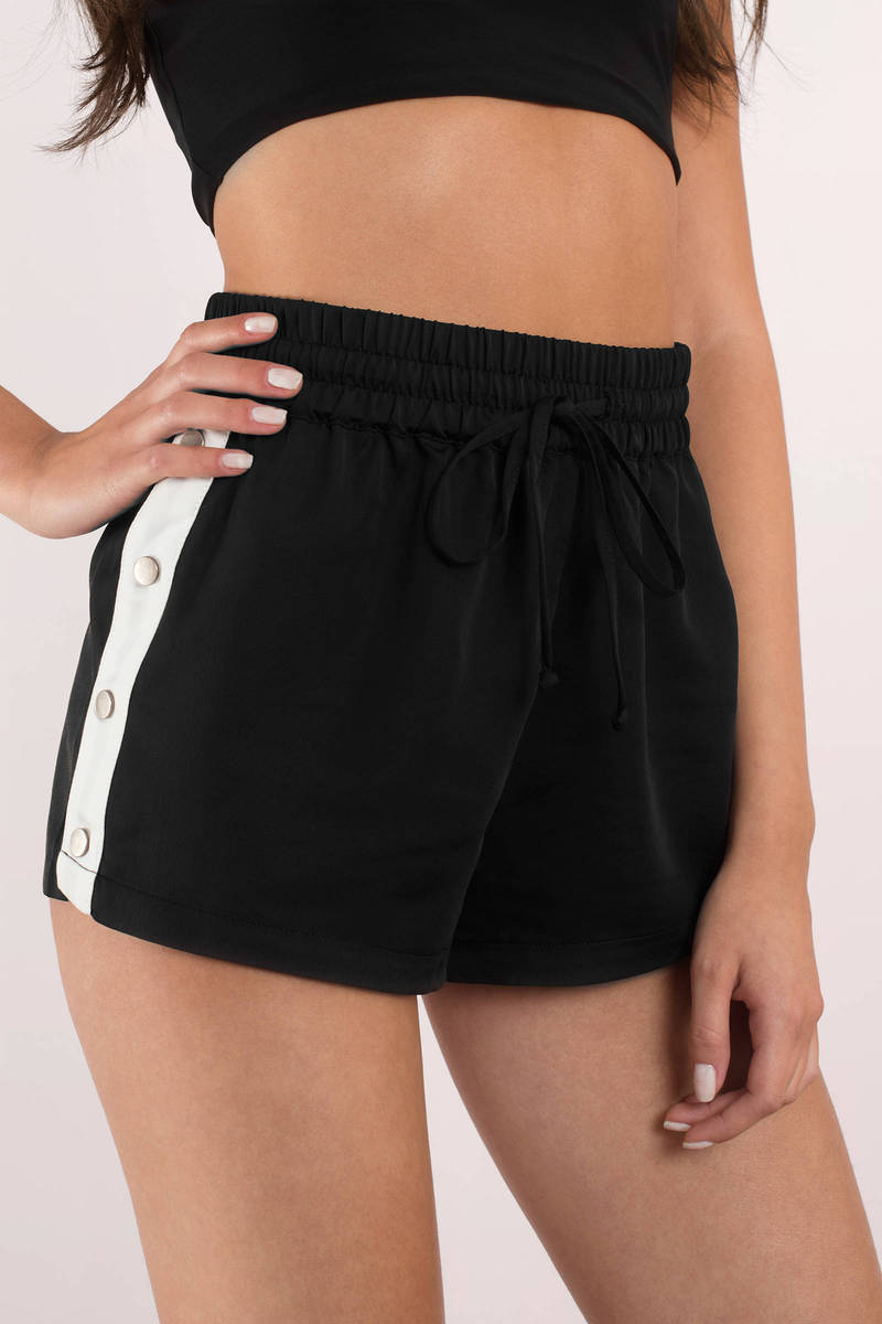 First Place Black Side Button Track Shorts