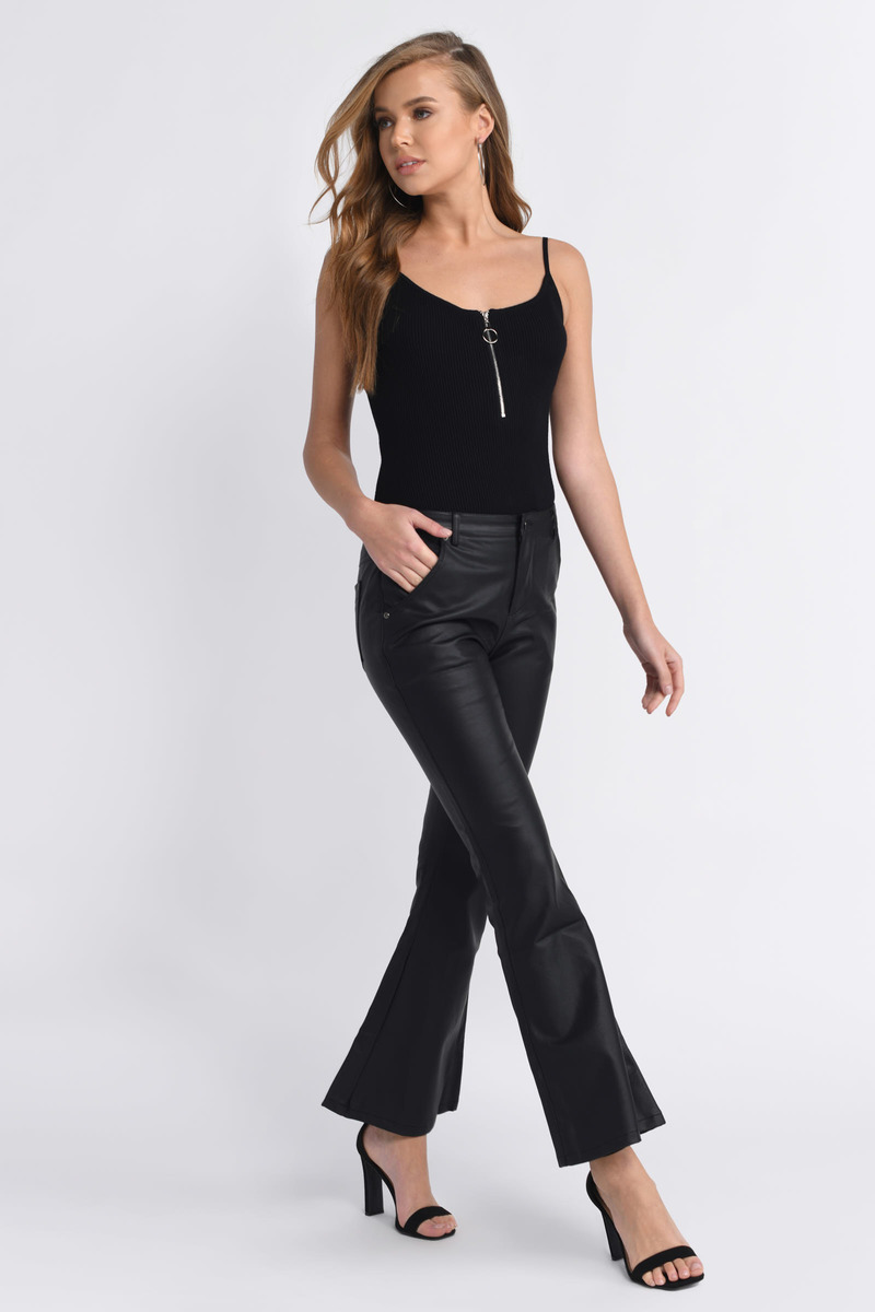 Flarey Tale Black Faux Leather Pants