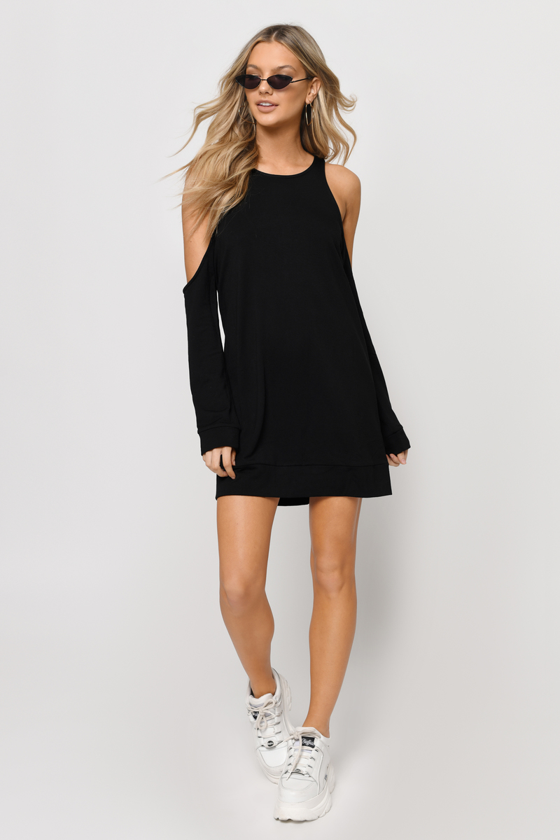 Flirt With You Black Sweatshirt Dress