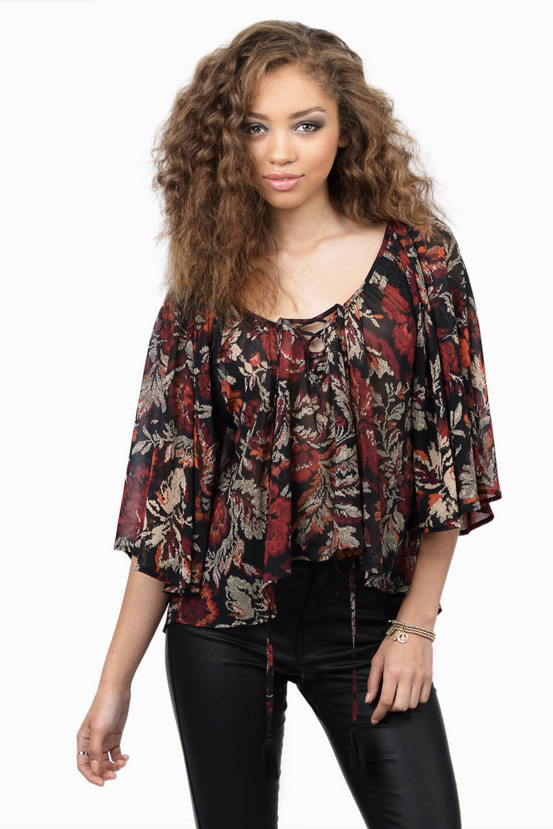 Afternoon Affair Black Floral Floral Print Blouse