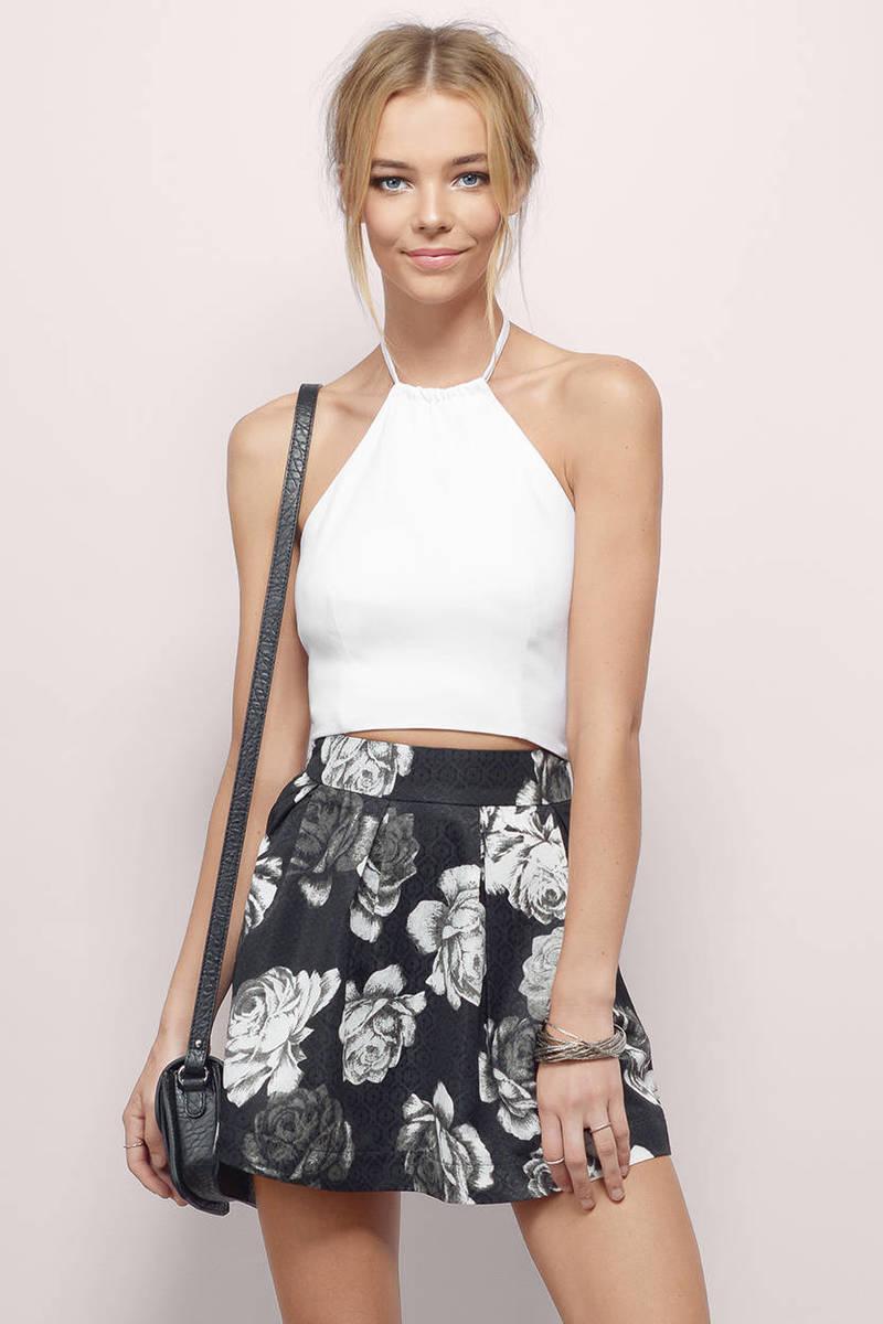 Kiersten Black Floral Floral Skater Skirt