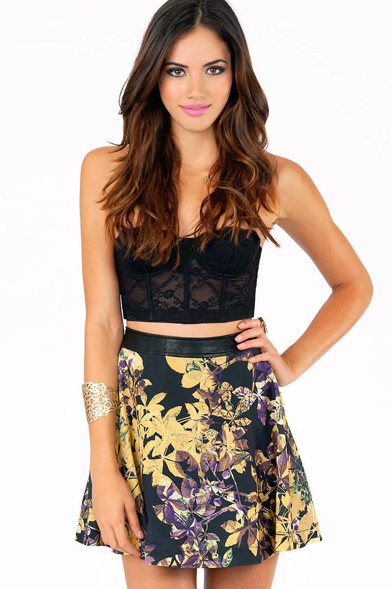Midnight Floral Skater Skirt