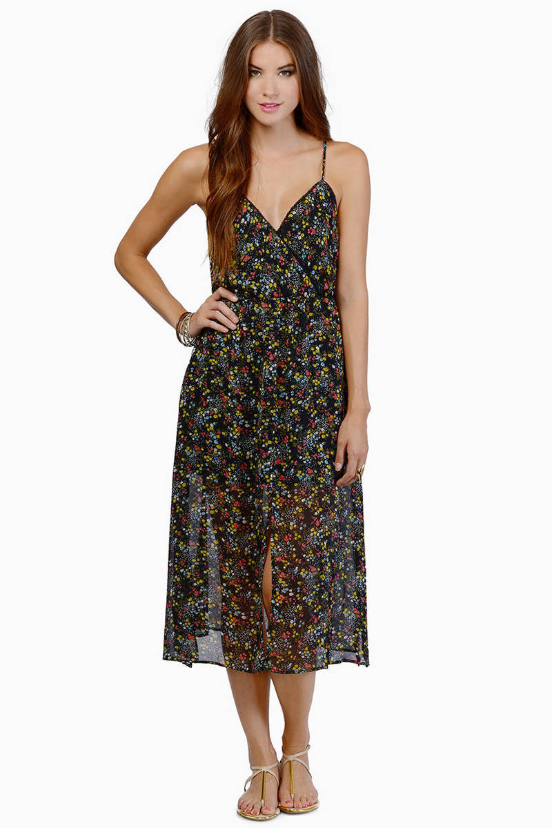 Summer Fling Black Floral Print Open Back Maxi Dress