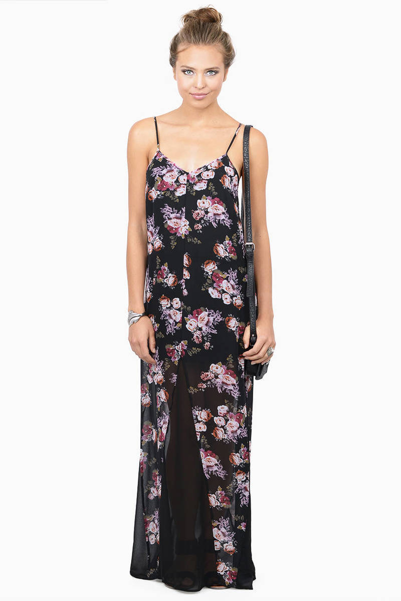 Summer Spirit Black Floral Print Maxi Dress