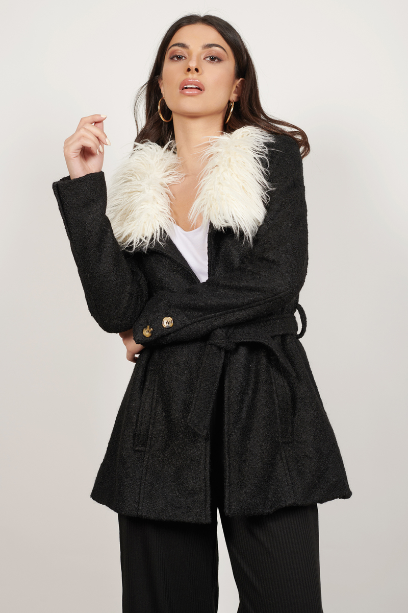 Florence Black Faux Fur Coat