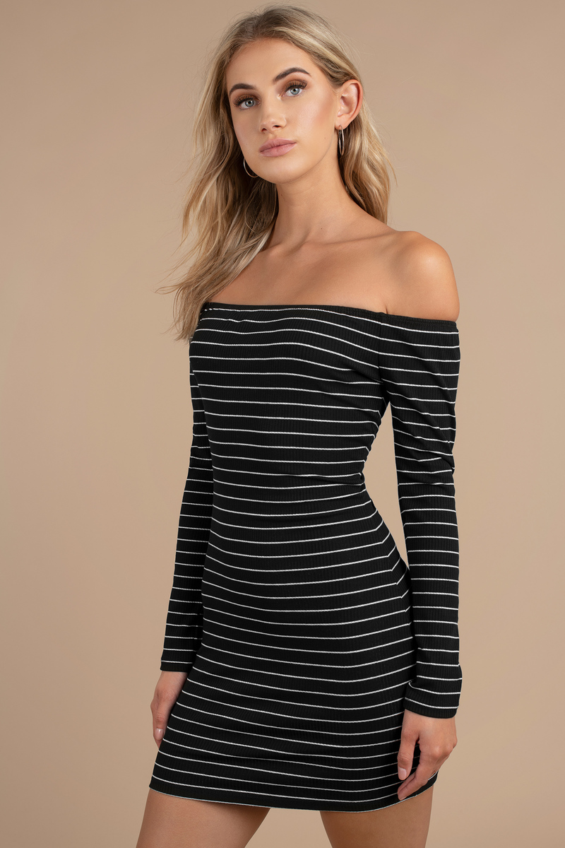 d13a2a99f044 Black Sweater Dress - Long Sleeve Striped Dresses - Bodycon Dress ...