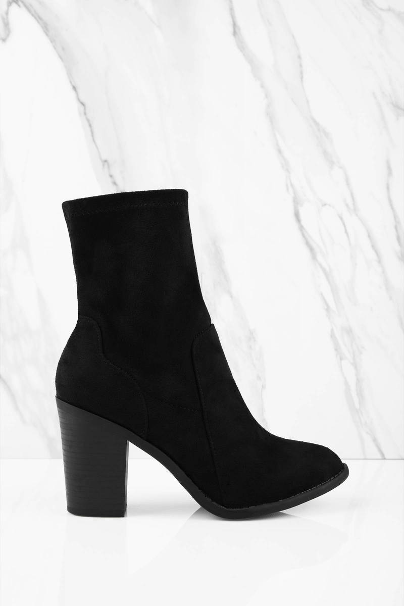Francoise Black  Suede Booties