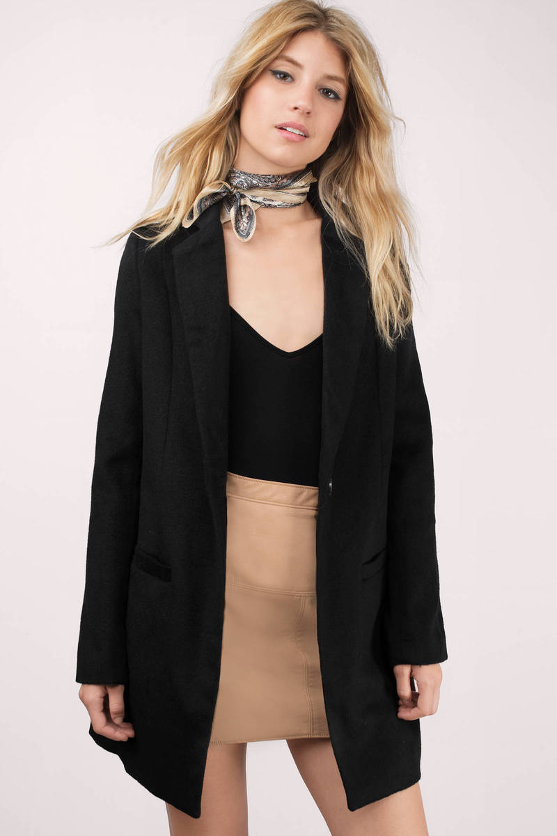 Front Page Black Wool Blazer Coat