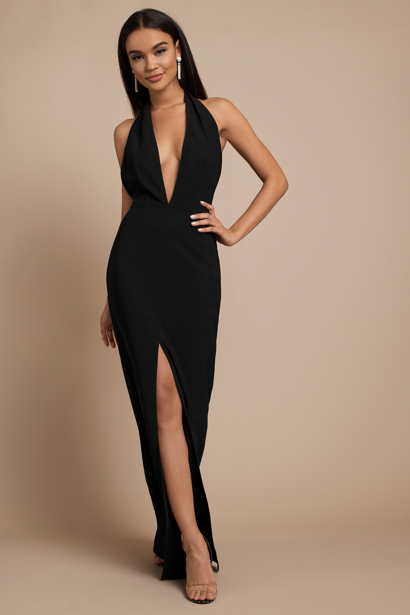 Black Maxi Dress - Black Dress - Deep V Dress - AU  64  a3dfbe318