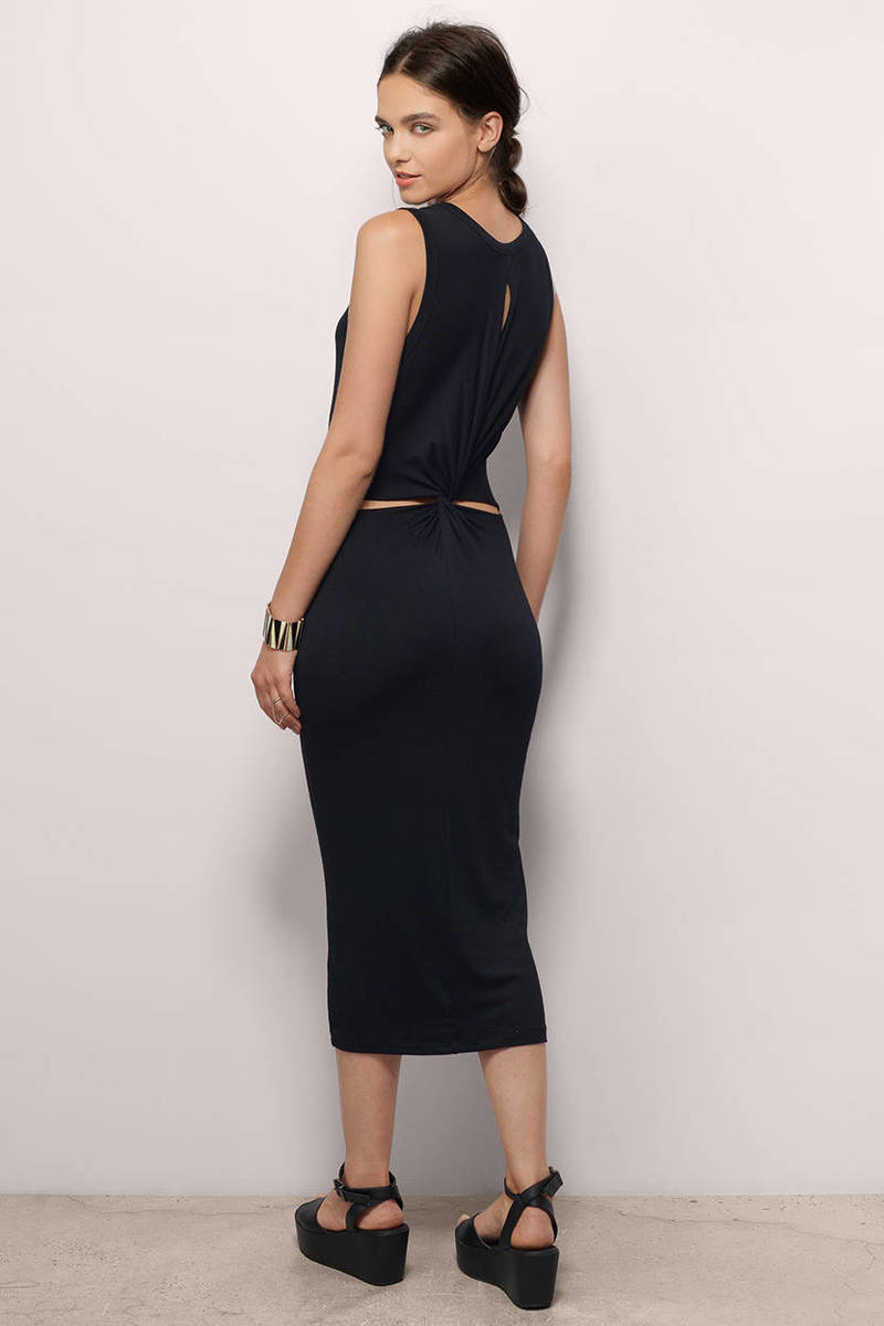Get Twisted Black Midi Dress