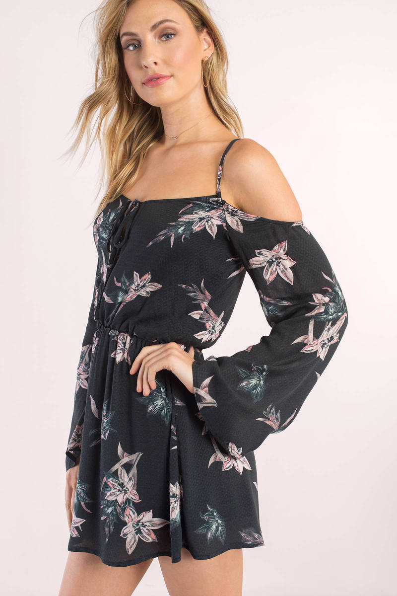 b3ed9fafdeab6 Black Casual Dress - Tropical Print Dress - Black Floral Dress -  18 ...