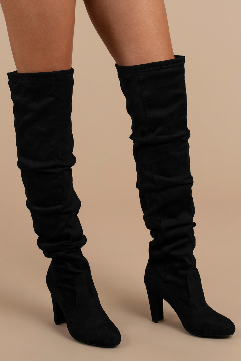 af24b4362634f Trendy Black Boots - Slouchy Knee High Boots - Black Vegan Boots - C ...