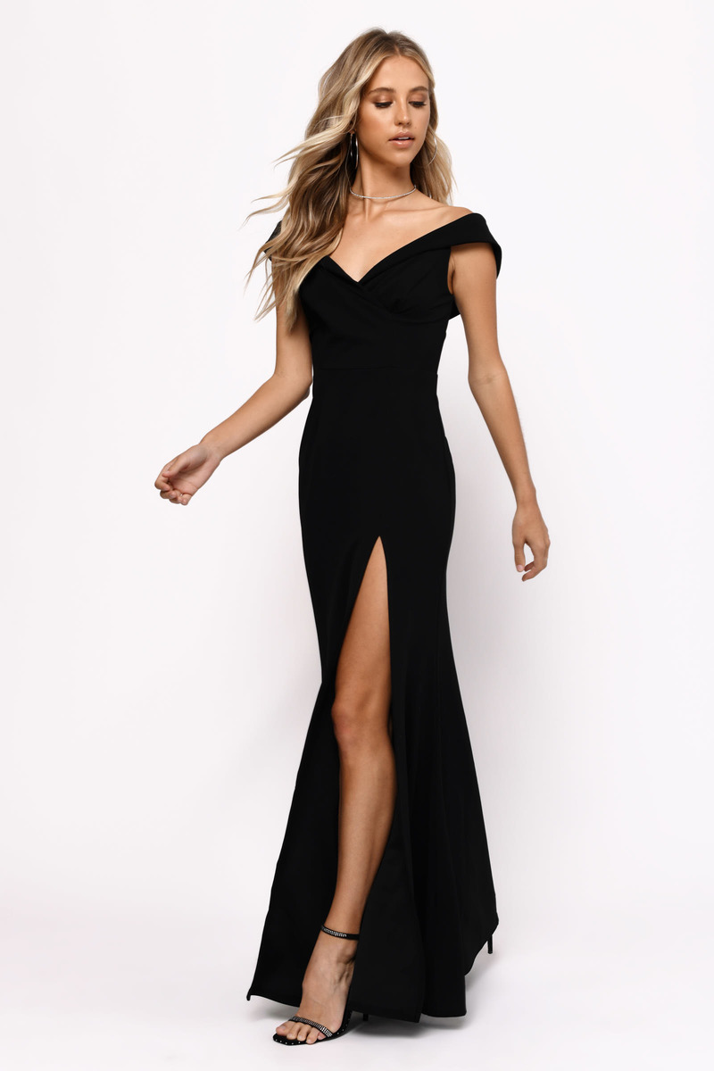 5d1bf411a28 Black Maxi Dress - Open Shoulder Dress - Black Formal Slit Gown ...