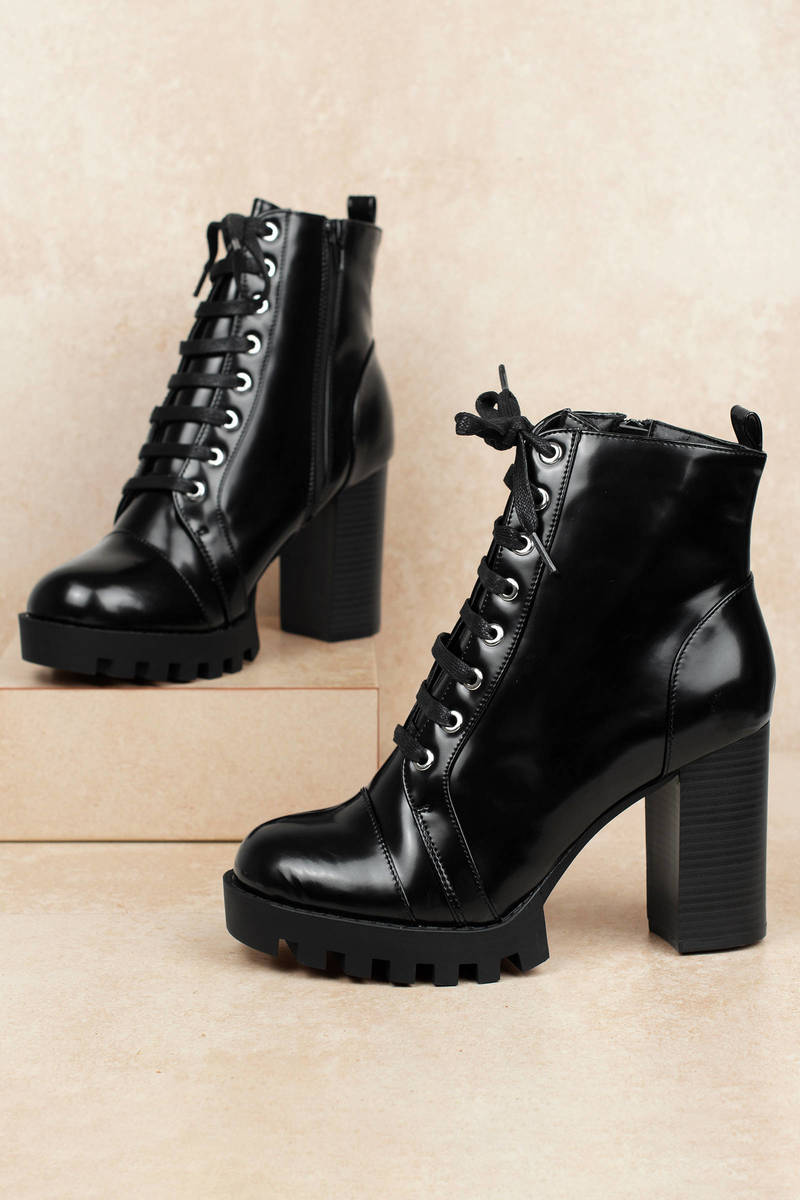 0e1ffda36d Black Booties - Heeled Combat Boots - Black Lace Up Boots - Party ...