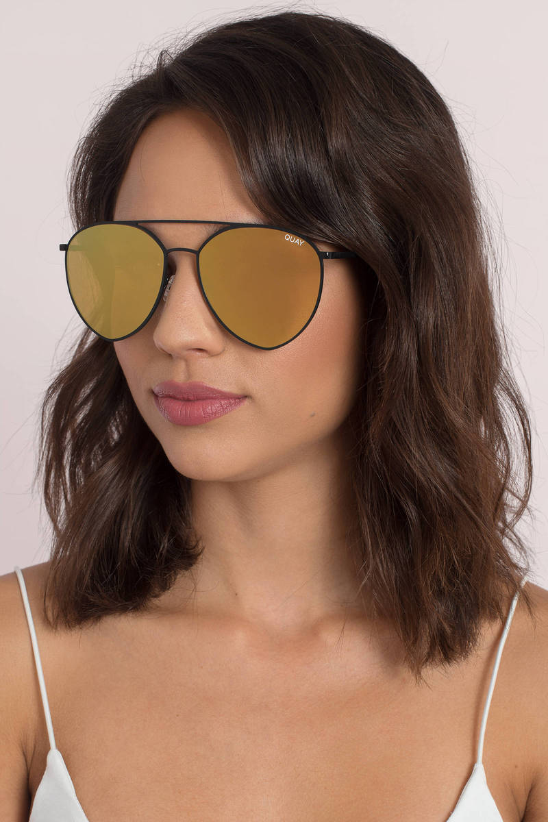 QUAY Quay Indio Black & Gold  Mirrored Aviator Sunglasses
