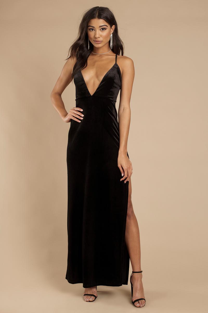 223f6c969a Black Maxi Dress - Plunging Maxi - Black Strappy Back Dress - C  57 ...