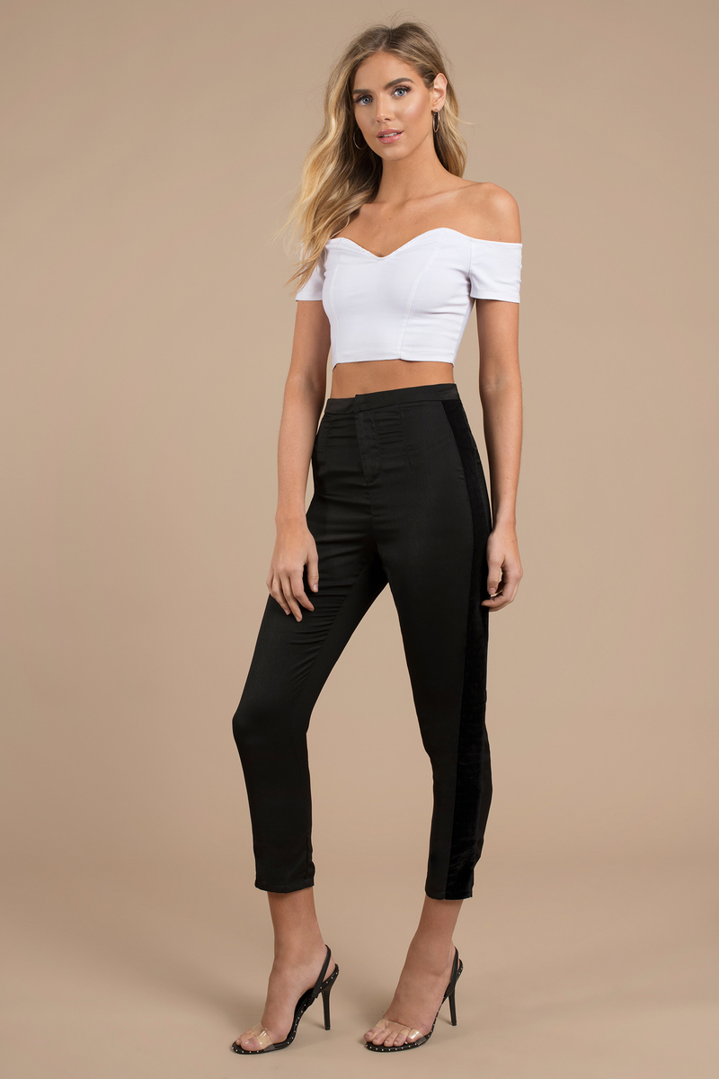 840b802b1a27d7 Stylish Black Pants - Velvet Satin Pants - Black High Waisted Pants ...