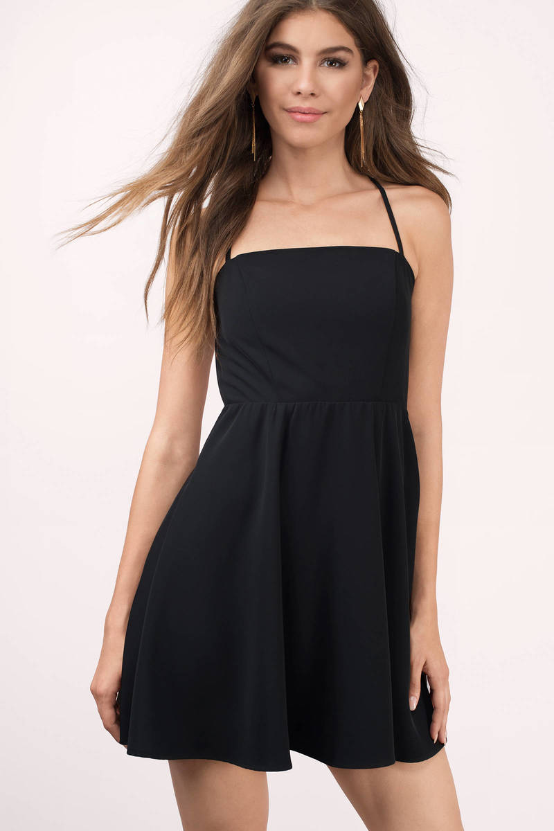 aab11886af3c Trendy Black Skater Dress - Open Back Dress - Skater Dress - $15 ...