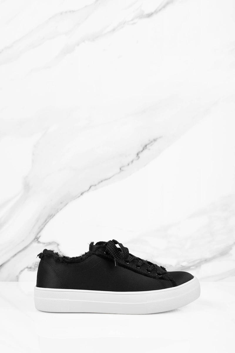 aca7df92f85 Black Steve Madden Sneakers - Distressed Sneakers - Black Satin ...