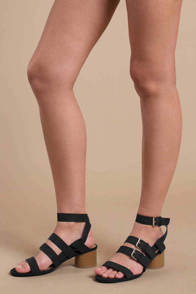 86b6c8dfa55 Black Heels - Short Casual Heels - Black Strappy Heeled Sandals ...