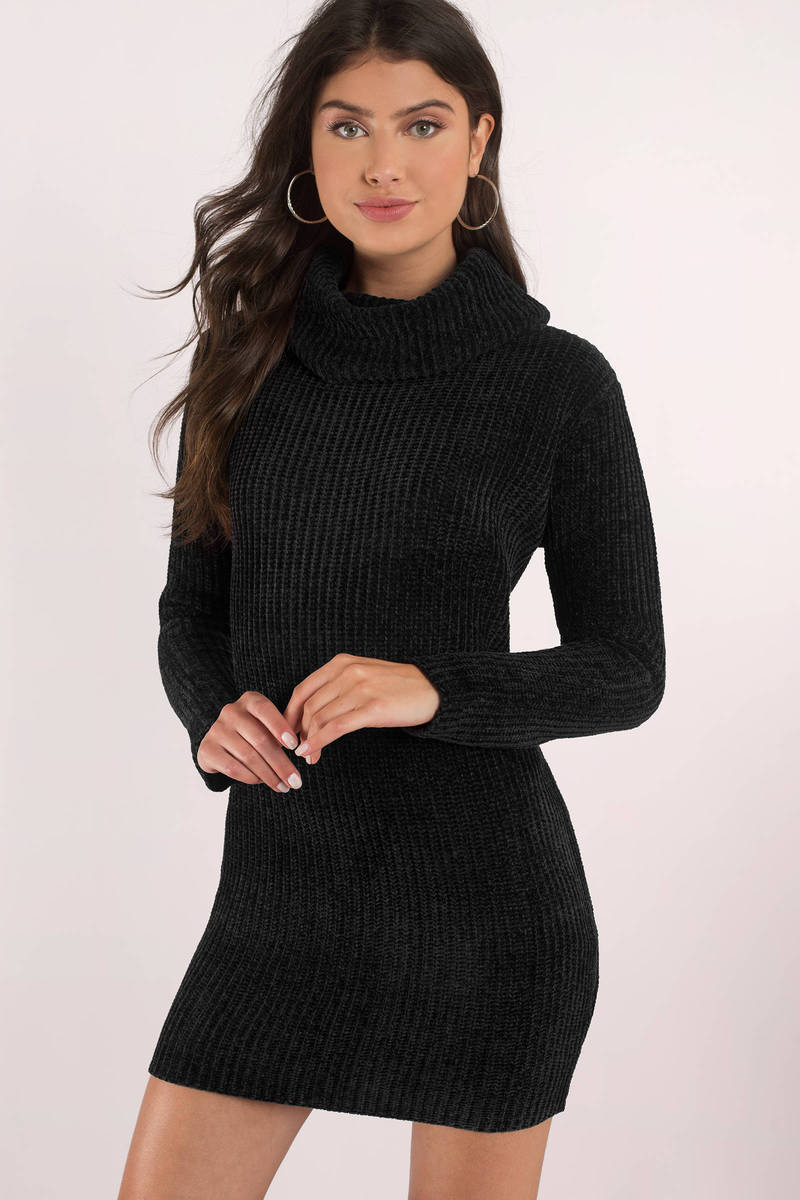 Cute Black Dress - Turtleneck Dress - Long Sleeve Dress - C$ 50 ...