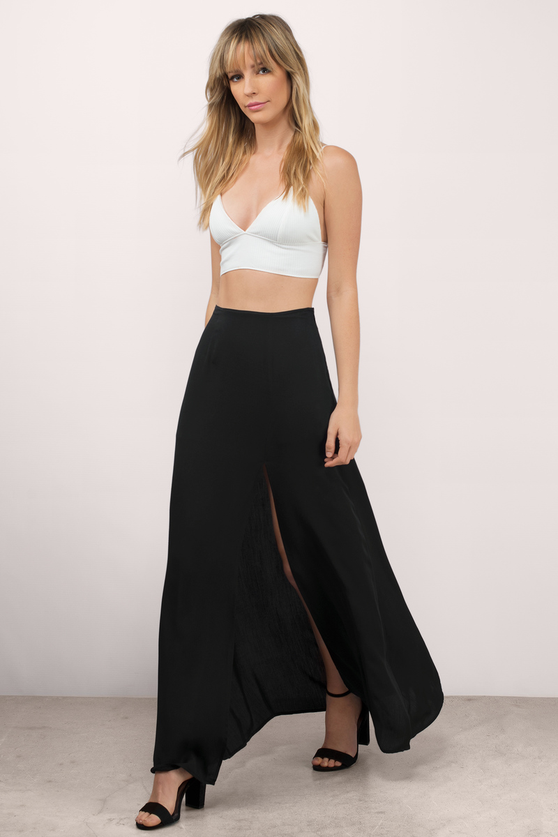Sexy Black Skirt - Maxi Skirt - Slit Skirt - Black Skirt - $24.00