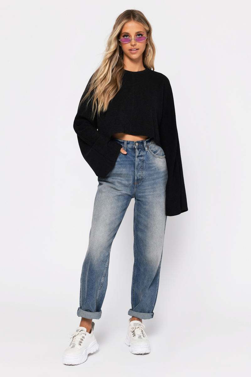 6e509031858 Cute Black Top - Bell Sleeve Crop Top - Long Sleeve Top - $13 | Tobi US