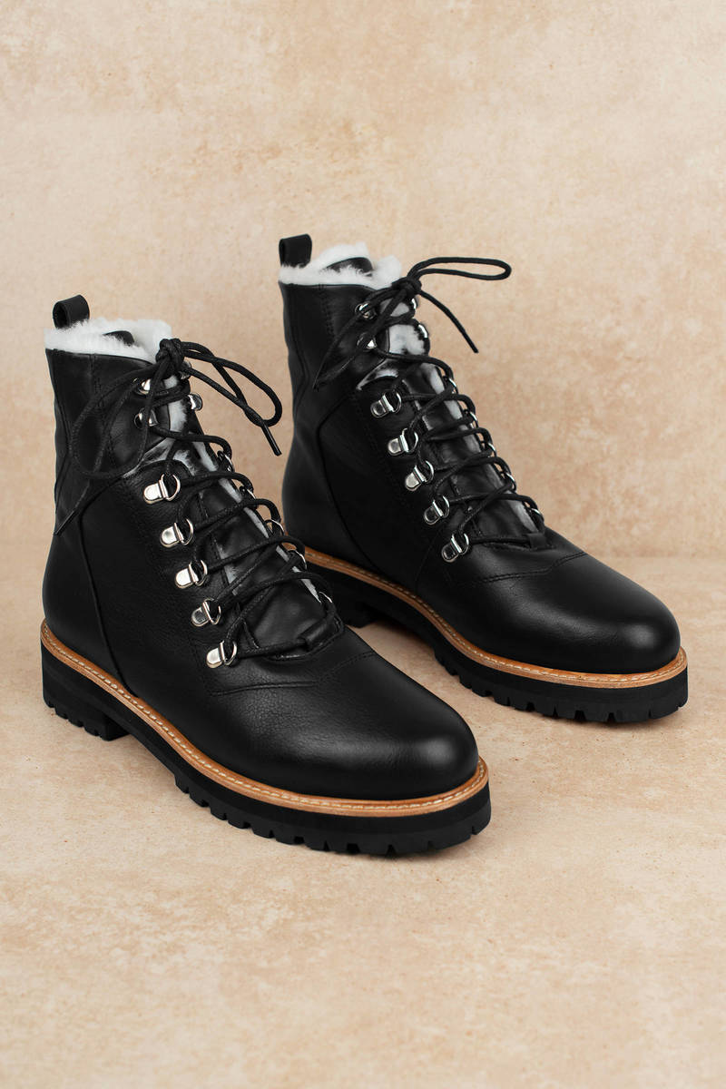 ef80f1f985 Black Sol Sana Boots - Lace Up Leather Boots - Black Furry Combat ...