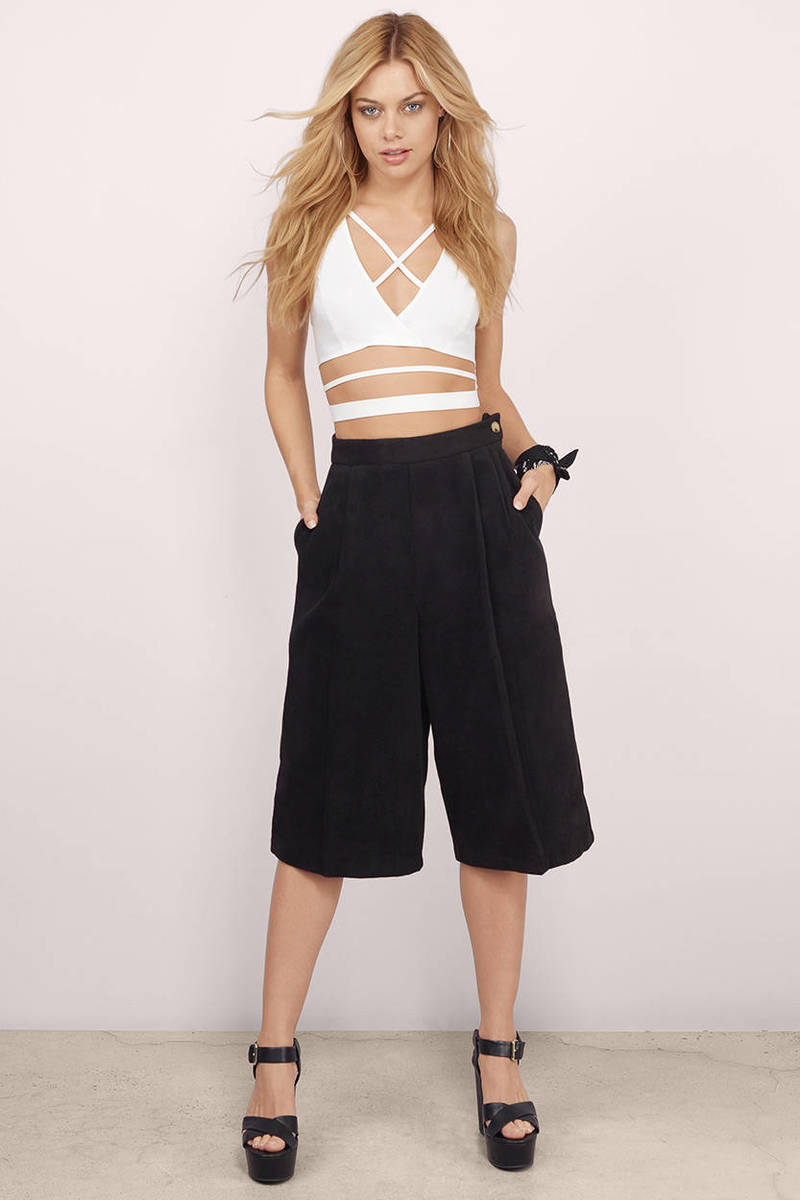 1332b5e1ba5b Black Pants - Culotte Pants - Pleated Pants - Side Button Pants ...