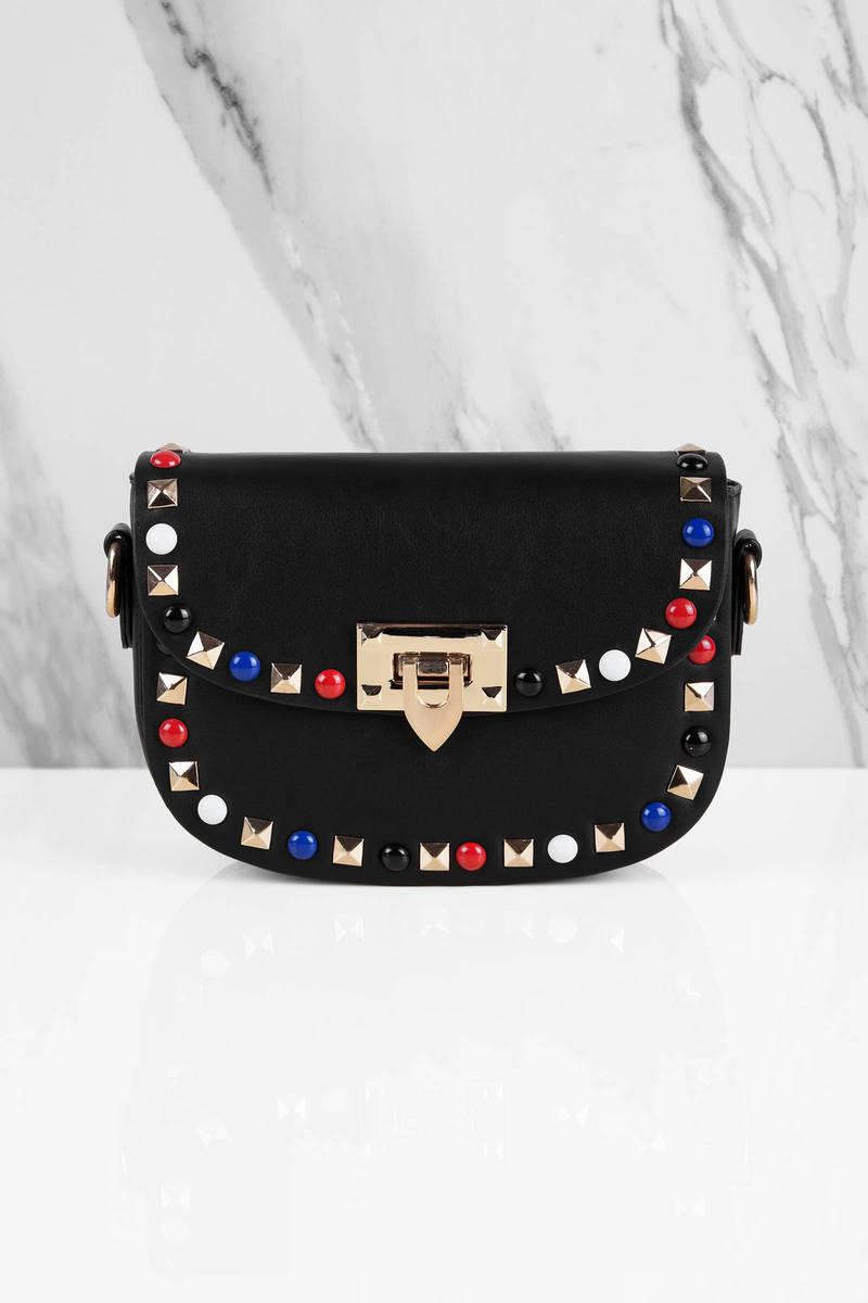 Harper Black Studded Crossbody Bag