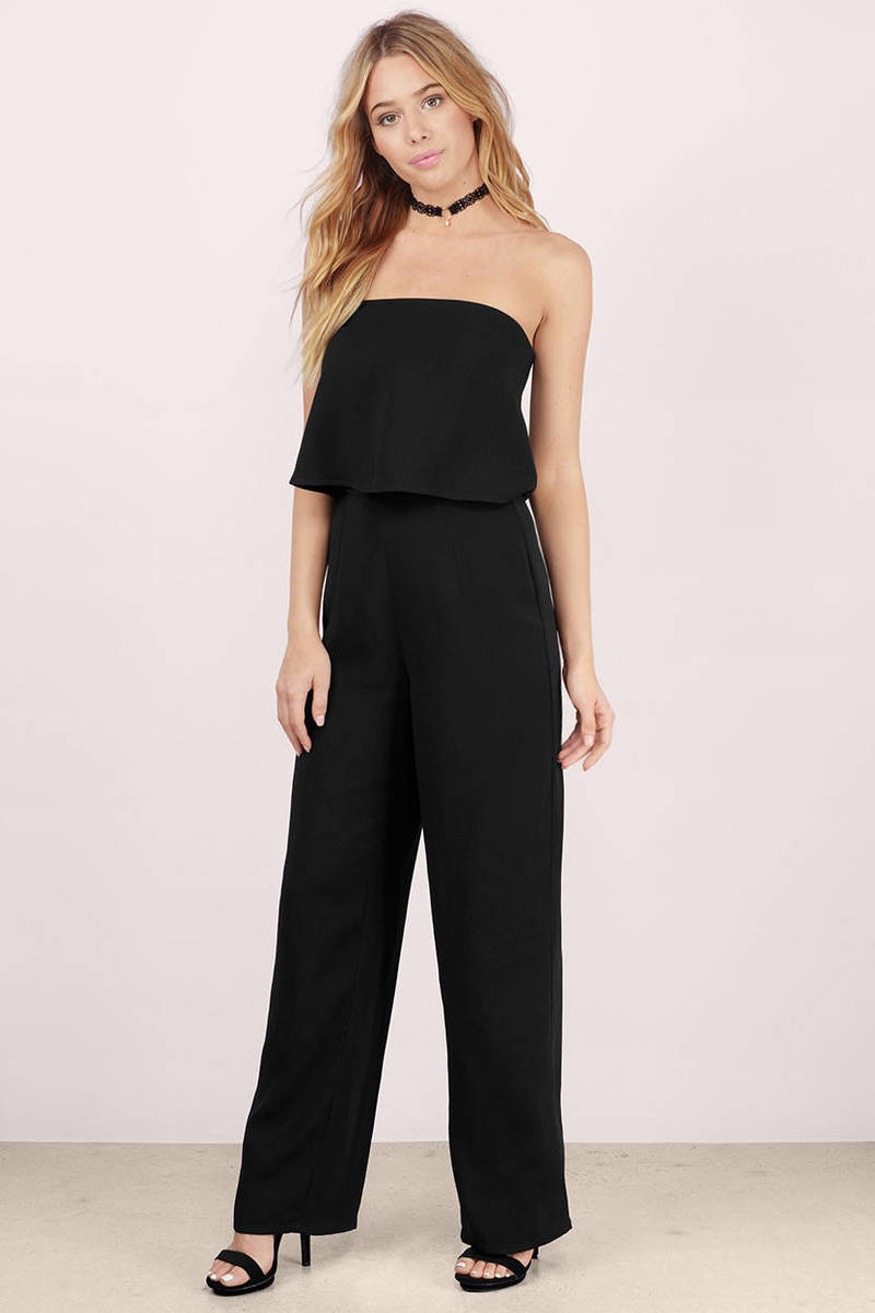 Cheap Black Jumpsuit - Strapless Jumpsuit - Black Jumpsuit ...