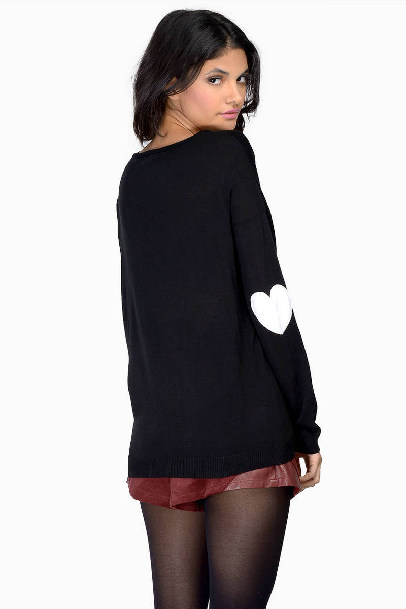 Heart On My Sleeves Ivory & Red Boat Neck Sweater