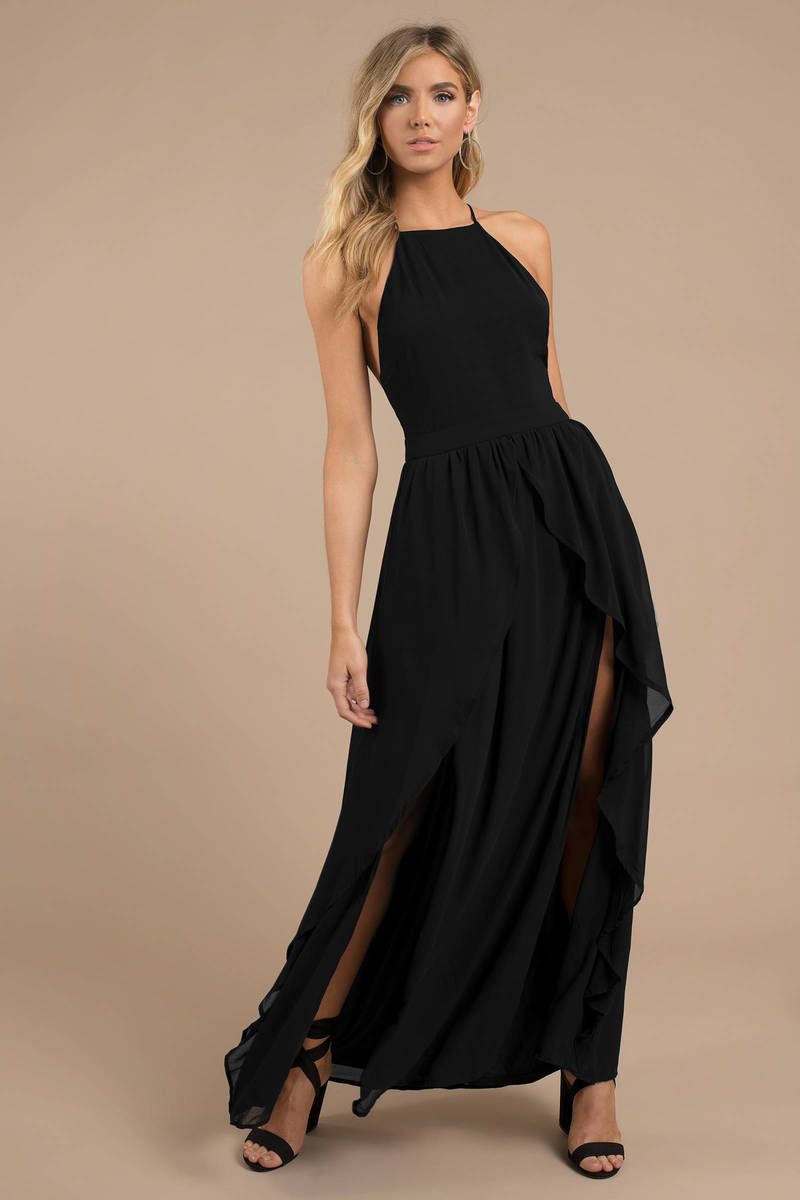Black Maxi Dress - Halter Maxi Dress - Elegant Black Dress - Fancy ... 41c1f887a